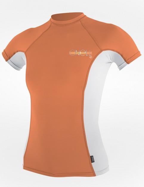 Oneill Wetsuits Ladies Skins Short Sleeve Crew Rash vest - Sorbet/White