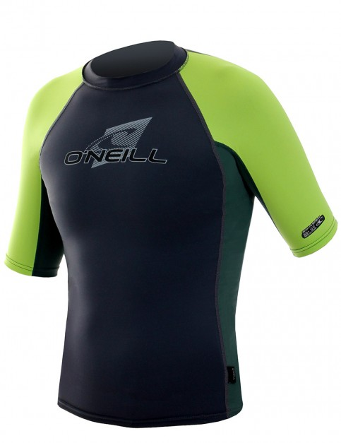 Oneill Wetsuits Youth Skins S/S Crew Rash vest - Graphite/Combat/Lime