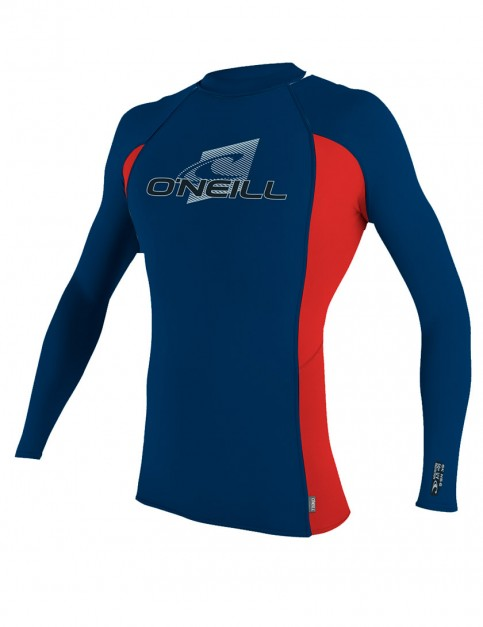 Oneill Wetsuits Youth Skins Long Sleeve Crew Rash vest - Deep Sea/Red/Deep Sea