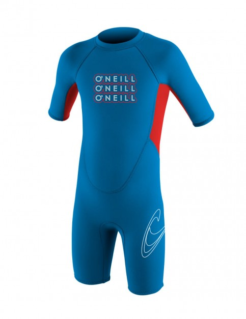 O'Neill Toddler Reactor Shorty 2mm Wetsuit 2016 - Bright Blue/Red