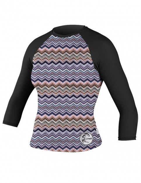 Oneill Wetsuits Ladies 3/4 Sleeve Rash tee - Fearless/Black/Black