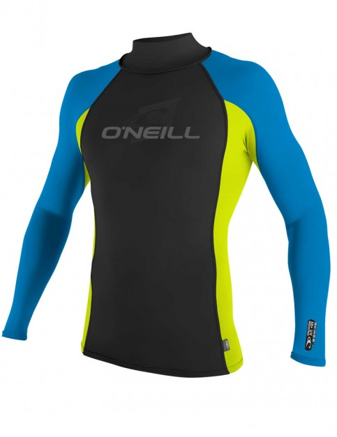 O'Neill Skins Long Sleeve Turtleneck Rash Vest - Black/Lime/Brite Blue