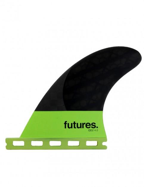 Futures QD2 4.0 Blackstix Quad Rear Fins Medium - Light Green/Carbon