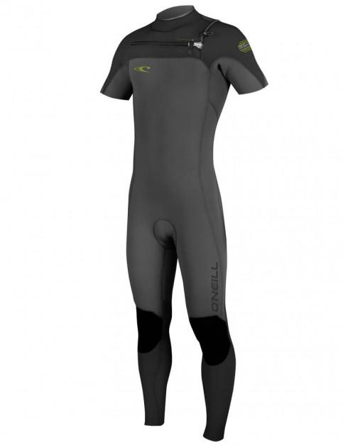 O'Neill Hyperfreak chest zip 2mm short sleeve wetsuit 2016 - Graphite/Black/Dayglo