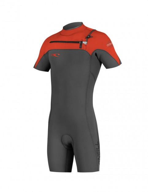 O'Neill Hyperfreak Chest Zip Shorty 2mm Wetsuit 2016 - Graphite/Neon Red/Black