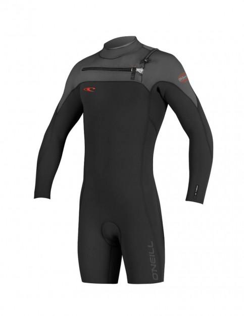 O'Neill Hyperfreak Chest Zip Long Sleeve Shorty 2mm Wetsuit 2016 - Black/Graphite/Neon Red
