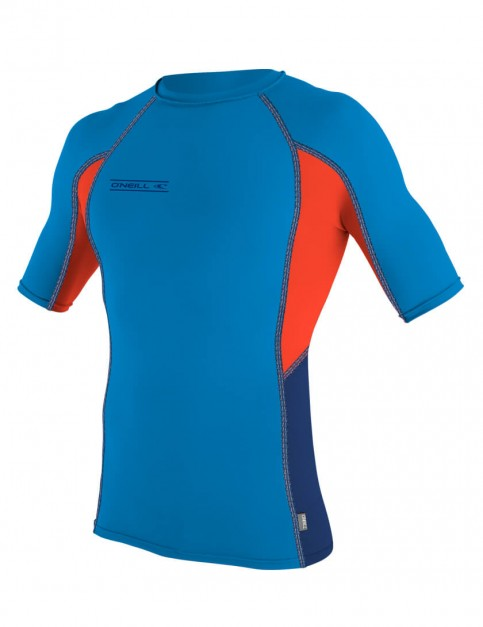 O'Neill Skins Graphic Short Sleeve Crew Rash Vest - Bright Blue/Neon Red/Navy