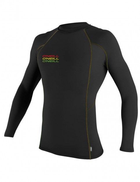 O'Neill Skins Graphic Long Sleeve Crew Rash Vest - Black/Black/Black