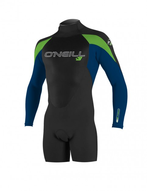 O'Neill Epic Long Sleeve Shorty 2mm wetsuit 2016 - Black/Deep Sea/Dayglo