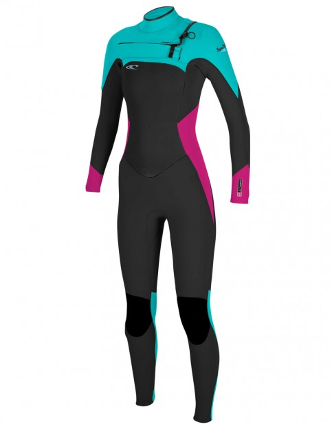 O'Neill Ladies SuperFreak Chest Zip 3/2mm Wetsuit 2017 - Black/Berry/Light Aqua