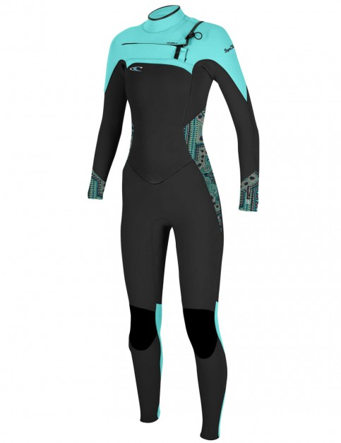 O'Neill Ladies SuperFreak Chest Zip 4/3mm wetsuit 2017 - Black/Maya/Seaglass