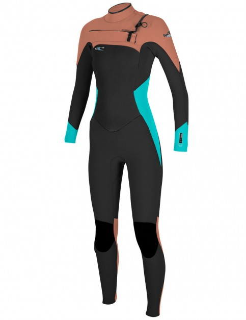 O'Neill Ladies SuperFreak Chest Zip 4/3mm Wetsuit 2017 - Black/Light Aqua/Light Grapefruit