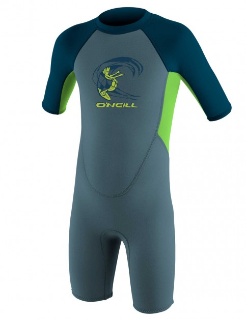 O'Neill Toddler Reactor Shorty 2mm Wetsuit 2017 - Dusty Blue/Dayglo/Slate