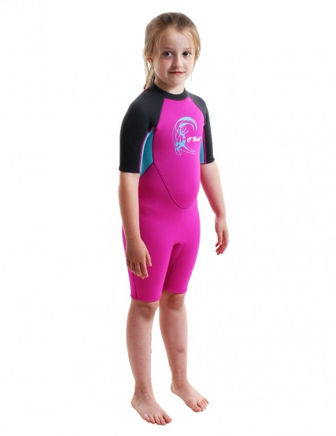 O'Neill Toddler Reactor Shorty 2mm Wetsuit 2018 - Berry/Lite Aqua/Graphite