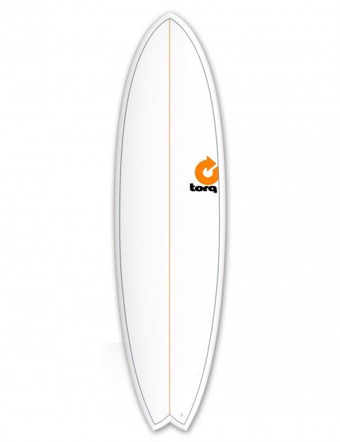 Torq Mod Fish surfboard 6ft 10 - White/Pinline