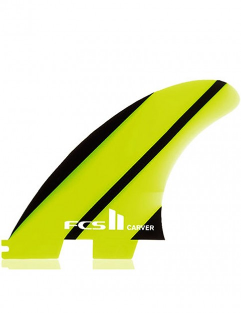 FCS II Carver Thruster Neo Glass Large tri Fin set - Neon Green