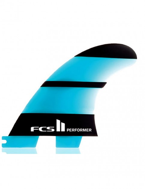 FCS II Performer Thruster Neo Glass Medium tri Fin set - Neon Blue