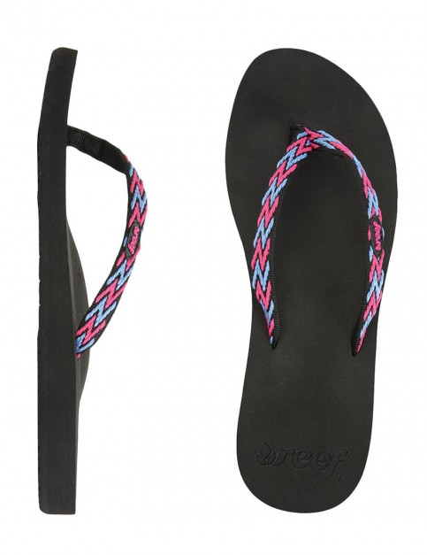 Reef Ginger Drift Ladies Flip flop - Black/Hot Pink/Blue