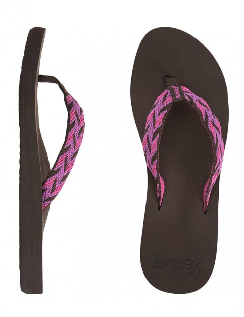 Reef Mid Seas Ladies Flip Flops - Brown/Pink