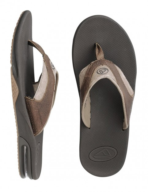 Reef Leather Fanning Flip flop - Brown/Brown