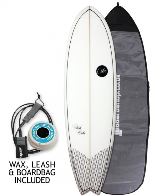 ABC Fish Cake surfboard 6ft 3 Package - White