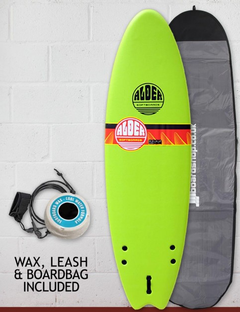 Alder Comp Fish Foam Surfboard Package 6ft 6 - Lime