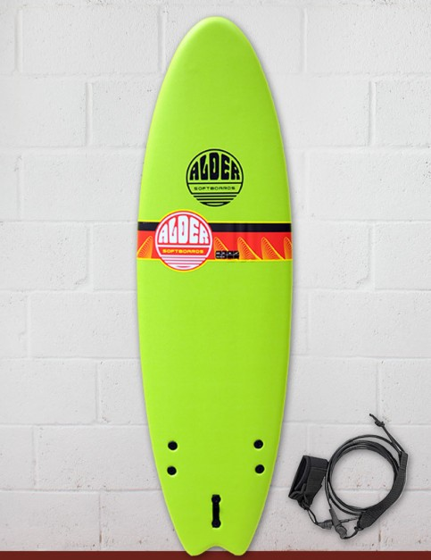 Alder Comp Fish Foam Surfboard 6ft 6 - Lime