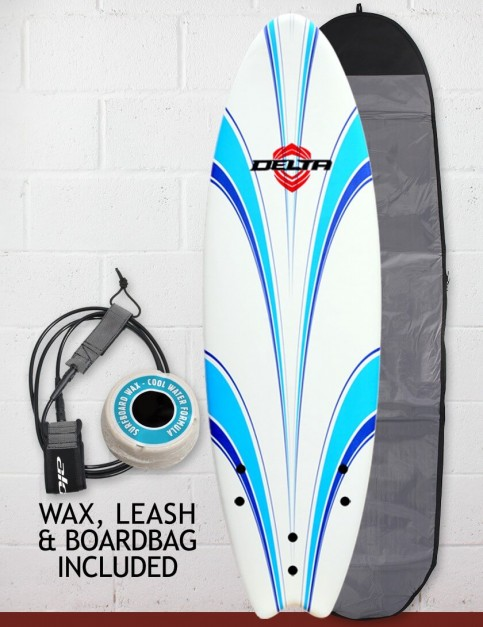 Alder Delta Hybrid Fish Foam surfboard 6ft 6 Package - White/Blue