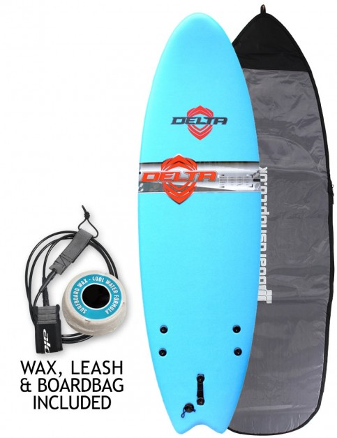 Alder Comp Fish Foam Kids Surfboard package 5ft 6 - Sky Blue