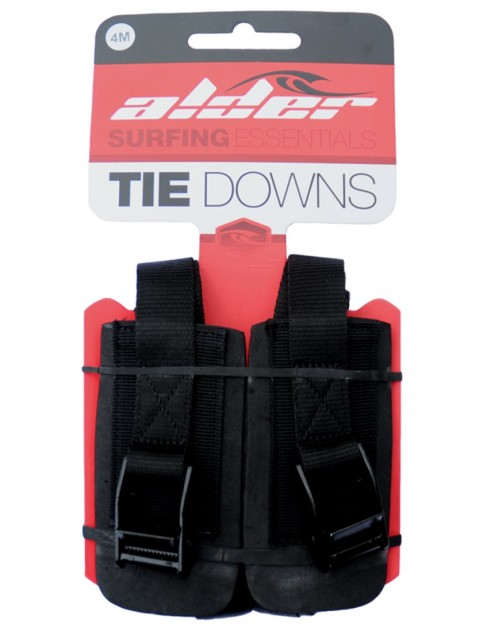 Alder Tie Down 4 Metre roof rack straps (pair) - Black