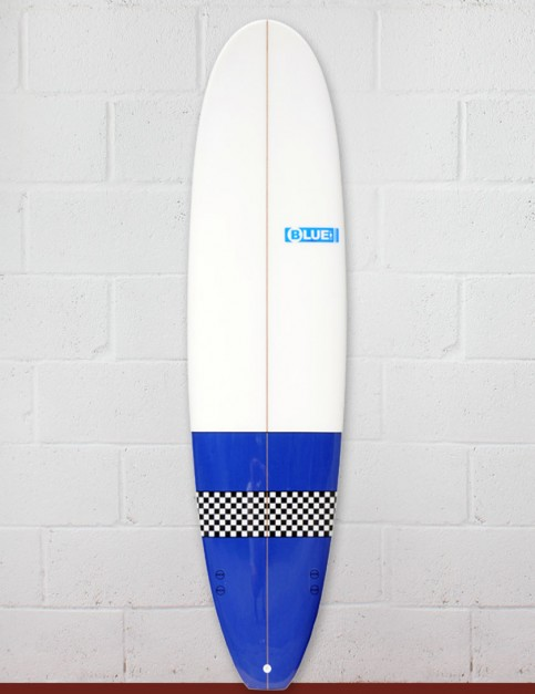 Blue Dot Mini Mal Surfboard 7ft 4 - Blue/Checkerboard