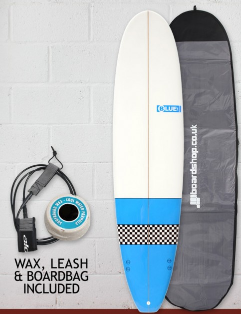Blue Dot Mini Mal Surfboard Package 8ft 0 FCS - Light Blue/Checkerboard