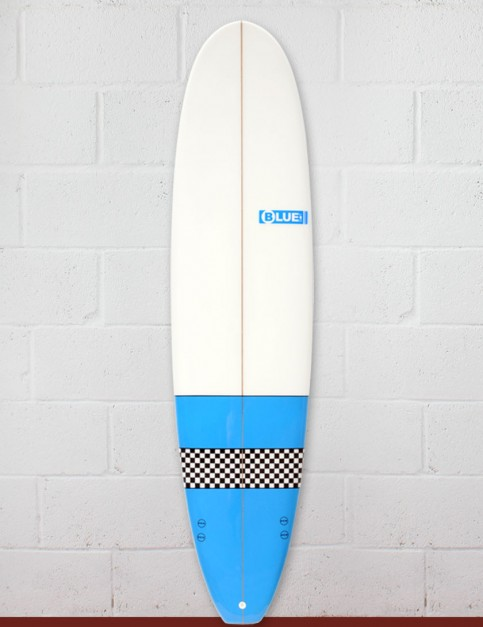 Blue Dot Mini Mal Surfboard 8ft 0 FCS - Light Blue/Checkerboard