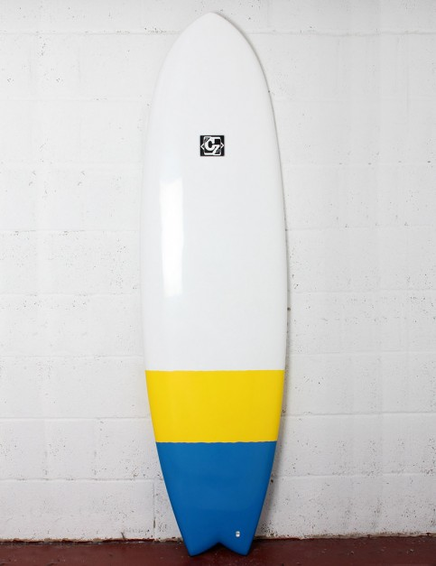 Cortez Fish surfboard 6ft 3 - Blue/Yellow Dip