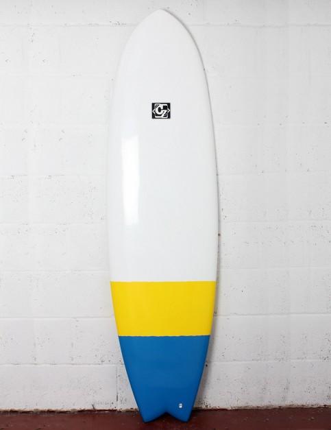Cortez Fish surfboard 6ft 6 - Blue/Yellow Dip