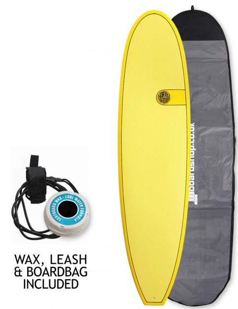 Cortez Funboard Surfboard Package 7ft 4 - Yellow