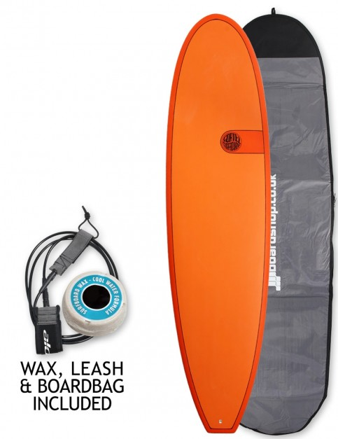 Cortez Funboard surfboard package 7ft 2 - Hot Orange