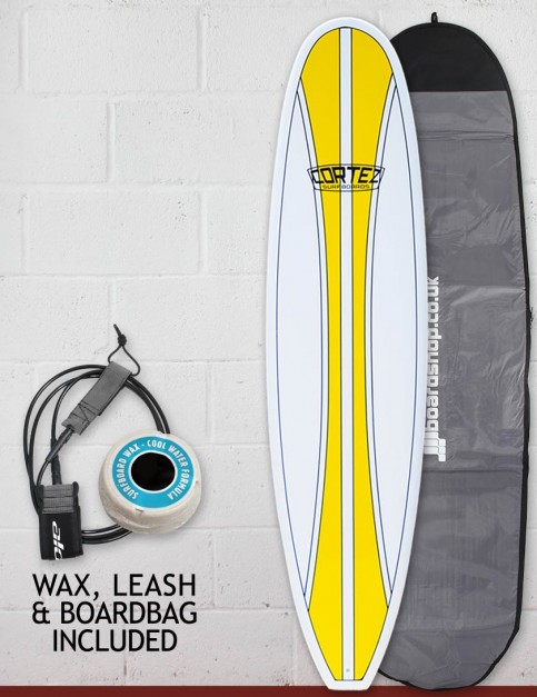 Cortez Funboard Surfboard Package 7ft 4 - Yellow