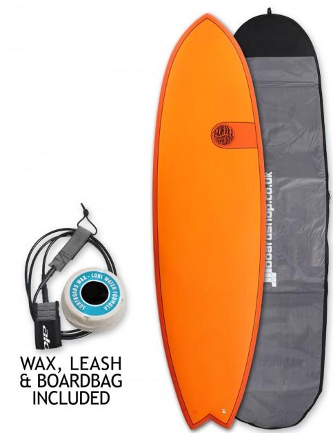 Cortez Fish surfboard package 6ft 3 - Hot Orange