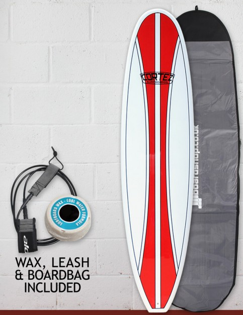 Cortez Funboard Surfboard Package 7ft 6 - Red