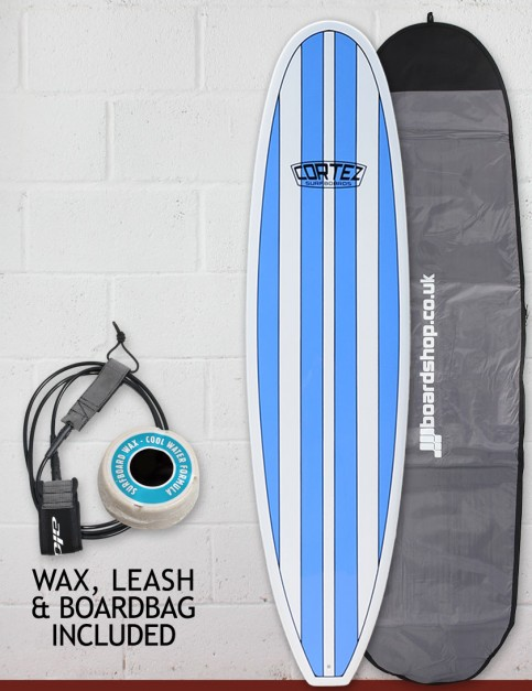 Cortez Funboard Surfboard Package 8ft 0 - Light Blue Stripes