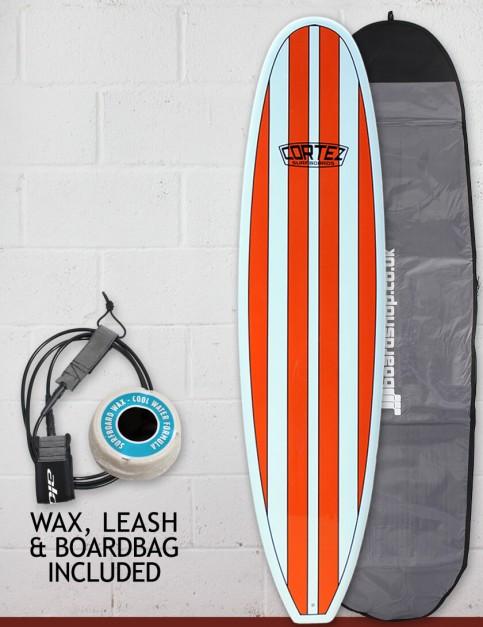 Cortez Funboard Surfboard Package 7ft 6 - Orange Stripe
