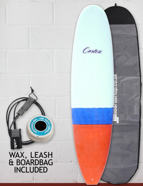 Cortez Funboard surfboard package 7ft 4 - Orange/Blue Dip