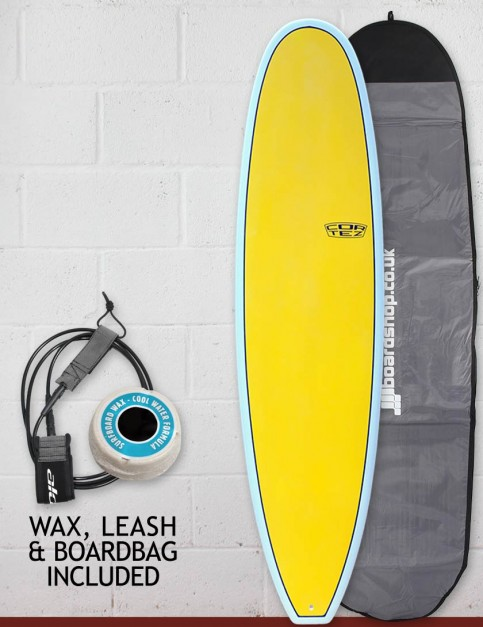 Cortez Funboard surfboard package 7ft 6 - Sanded Yellow