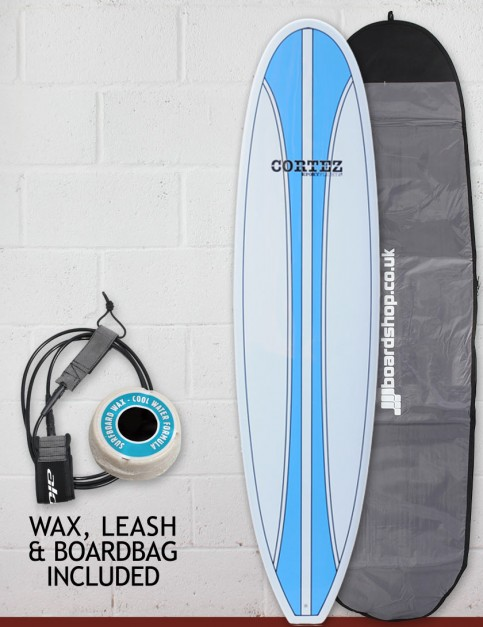 Cortez Funboard Surfboard Package 7ft 4 - Light Blue