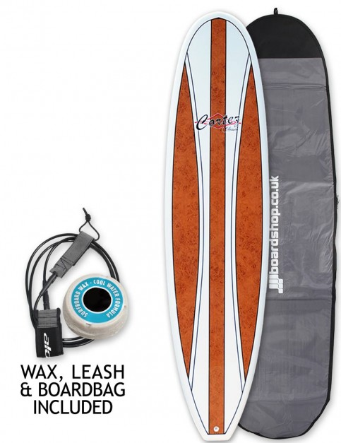 Cortez Fun Veneer surfboard package 7ft 2 - Dark Natural Wood