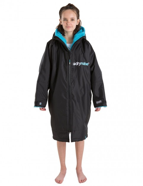 Dryrobe Advance Long Sleeve Small (small adult/kid) outdoor change robe - Black/Blue