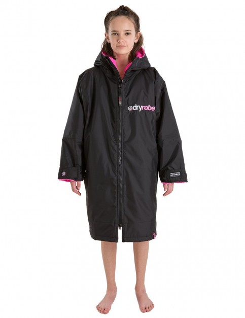 Dryrobe Advance Long Sleeve Small (small adult/kid) outdoor change robe - Black/Pink