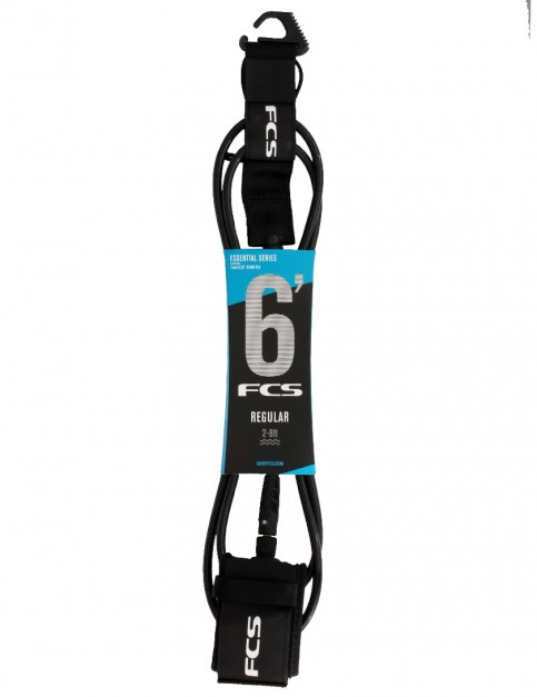 FCS Regular surfboard leash 6ft - Black