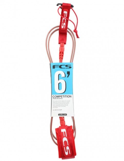FCS Comp surfboard leash 6ft - Red